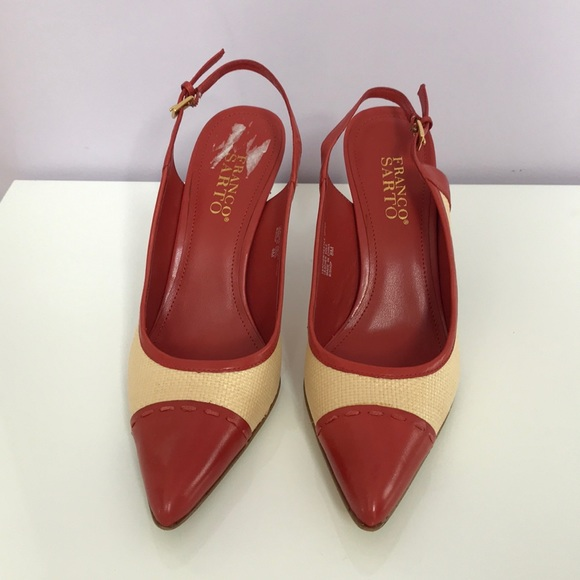 Franco Sarto Shoes - NWOT. Franco Sarto Coral leather/textile heels!